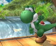 Yoshi encontrando una pegatina SSBB