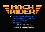 Pantalla de titulo de Mach Rider