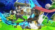 Bayonetta atacando a Ganondorf en Mario Galaxy SSBU