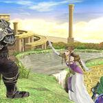 Ganondorf, Zelda, Link y Sheik en el Reino del Cielo SSB4 (Wii U).jpg