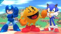 Mega Man, Pac-Man y Sonic en Sobrevolando el Pueblo SSB4 (Wii U)