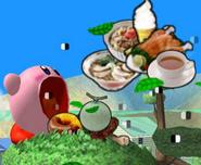 Kirby absorbiendo comida SSBM