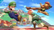 Luigi junto a Link y Samus SSB4 (Wii U)