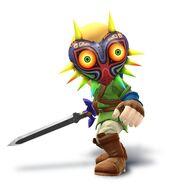 Artwork de Espadachín Mii con la Máscara de Majora y el traje de Link