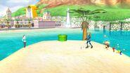 Olimar con Samus Zero y la Entrenadora de Wii Fit en Ciudad Delfino SSB4 (Wii U)