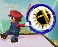 Mario sosteniendo un bumper SSBB