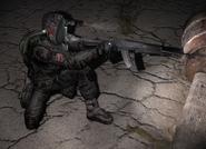 NPC держит дробовик как за пистолет