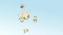 S2E39 Duck and ducklings flying through the air