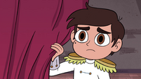 S4E24 Marco watching from behind curtains
