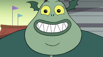 S4E25 Buff Frog smiling widely at Tom