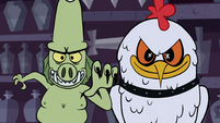 S1E8 Frill-neck minion and Big Chicken about to pounce