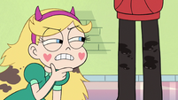 S3E22 Star looking at grease stains on Marco's pants