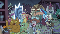S4E11 Star, Marco, and Janna arrive in crowded Quest Buy