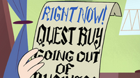 S4E11 Flyer for Quest Buy's out-of-business sale