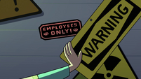 S4E11 Janna finds small 'Employees Only' sticker
