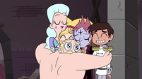S4E24 Star, Moon, Tom, Marco, and River in group hug