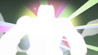 S4E33 Blinding rainbow lights form a shape