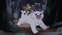S4E5 Star, Marco, and Brunzetta riding horned bear