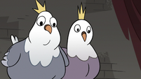 S3E20 King and Queen Pigeon looking at Rich Pigeon
