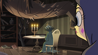 S2E40 Lady Avarius sitting at a table
