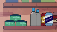 S2E27 Marco Diaz's bathroom shelf of cosmetics