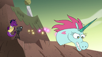 S4E33 Pony Head flying down the hill