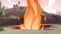 S3E38 Fire shoots out of the ground fissure