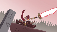 S4E35 Queen Solaria lands on a village roof