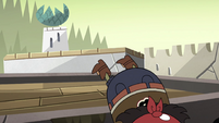 S4E33 Quirky Guy falling off a village roof