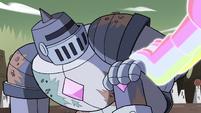 S4E33 Rainbow Kaiju grabs Solarian Warrior's arm