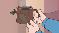 S3E25 King Butterfly tapping spoon on a stump mug