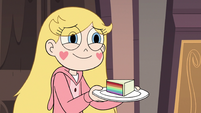 S3E25 Star Butterfly holding a plate of rainbow cake