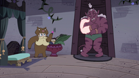 S4E35 Globgor hiding behind the fireplace