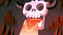 S2E3 Lava pours out of skull ornament's mouth