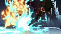 S4E5 Brunzetta slams axe near fire demon