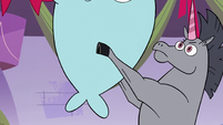 S3E26 Rock the Warnicorn holding up Narwhal