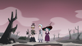 S3E36 Moon, Eclipsa, and Eddie in the dry bog