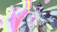S4E33 Rainbow Kaiju uppercuts Solarian Warrior