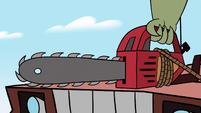 S2E36 Rasticore's arm picks up his chainsaw