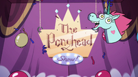 S4E19 The Ponyhead Show! logo on wall projector