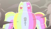 S4E33 Rainbow Kaiju walks through the smoke