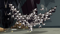 S3E20 Pigeons flying in the shape of a giant bird