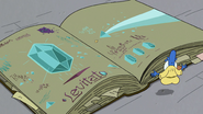 S2E35 Glossaryck opens the book to Levitato page