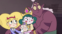 S4E24 Star, Eclipsa, and Globgor smile at each other