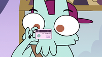 S3E35 Delivery guy looking at Pony Head's ID card