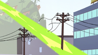 S2E14 Ludo's magic cuts through telephone pole