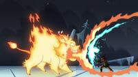 S4E5 Fire demon breathing fire on Brunzetta