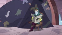 S3E14 Sir Lavabo reading a newspaper