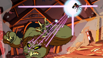 S2E22 Spider With a Top Hat blasts wolf monster with lasers