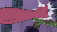 S4E22 Giant fist punches Quirky into the wall